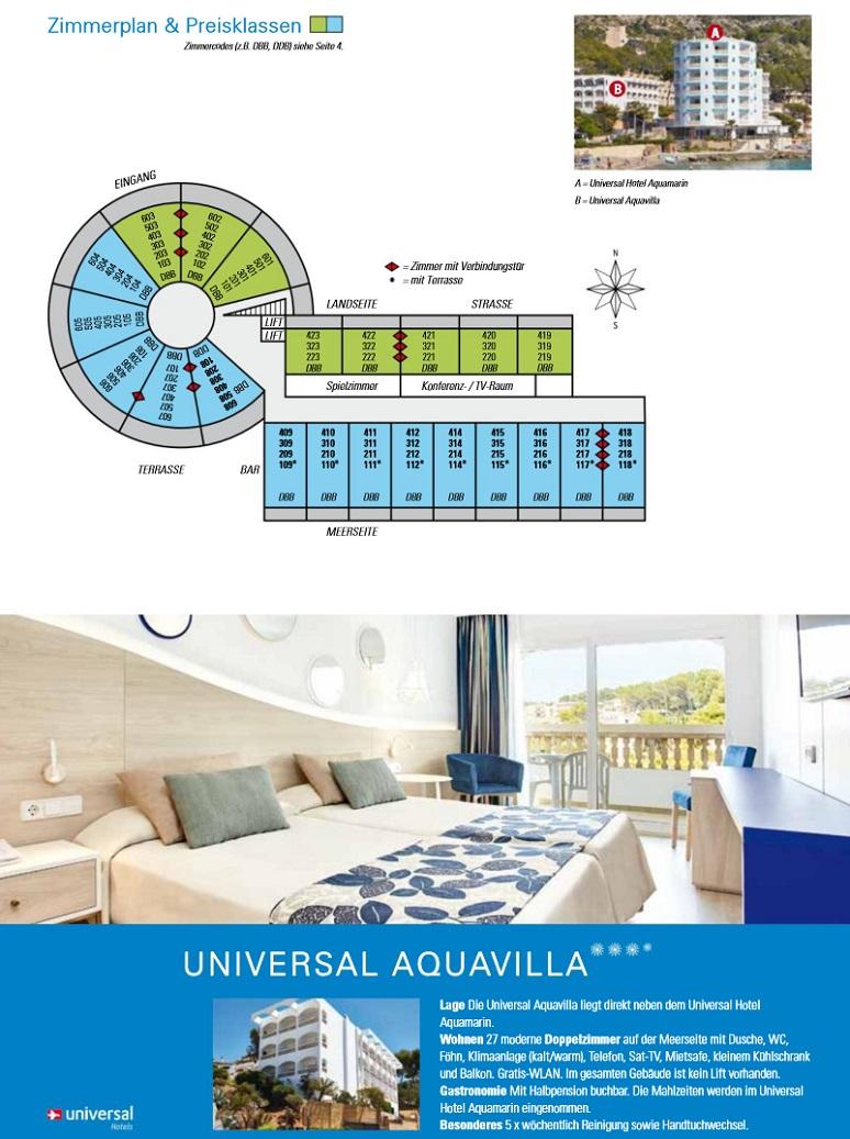Hotel Aquamarin Zimmerplan