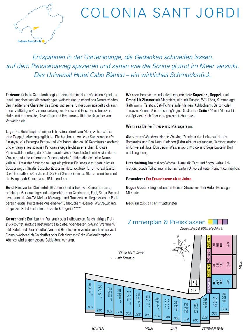 Hotel Cabo Blanco Beschreibung und Zimmerplan